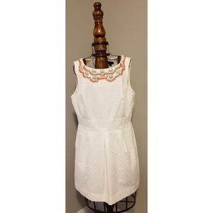 Tahari textured dress w/beaded neckline